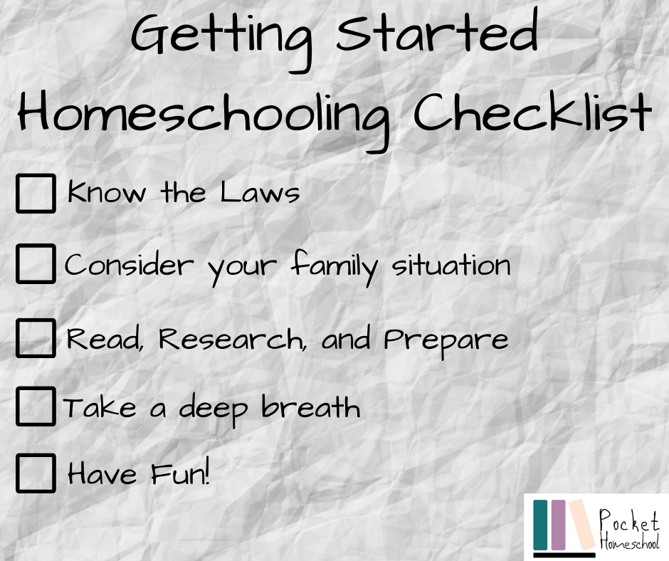 Getting Started Homeschooling Checklist -Know the Laws - Consider your family situation -Read, research, and prepare -Take a deep breath -Have fun!