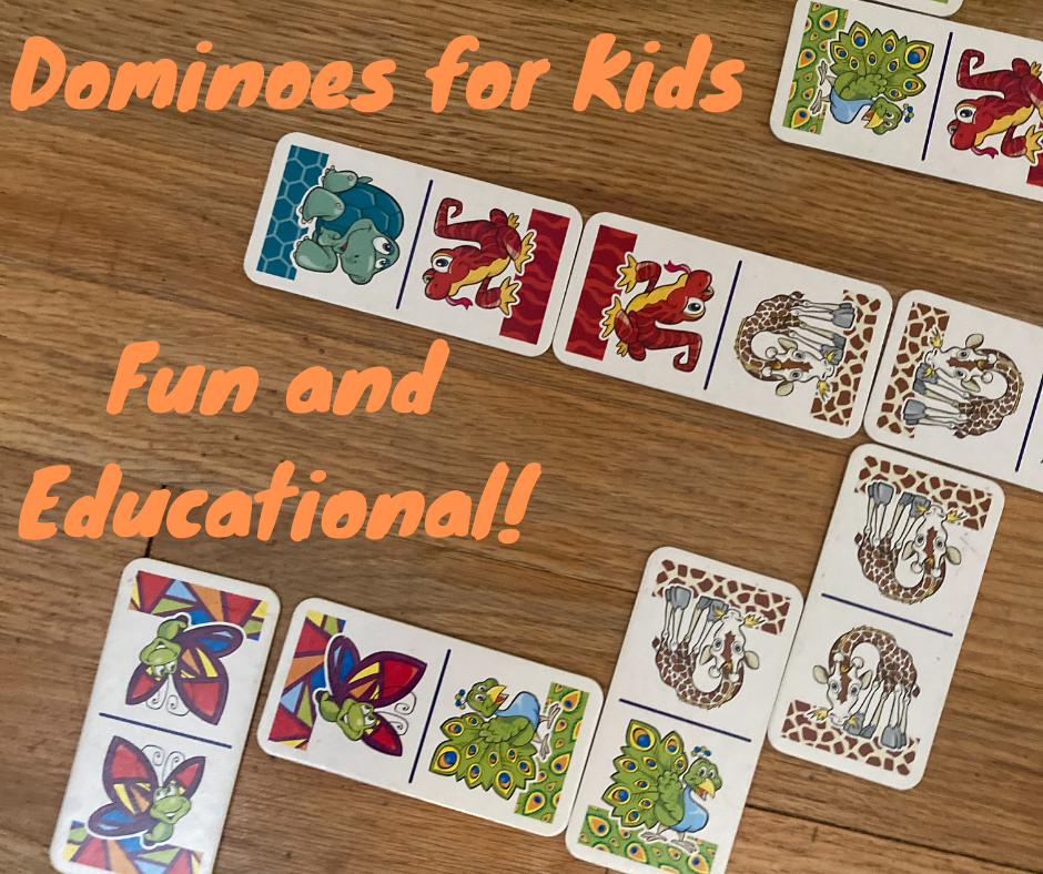 A picture of animal dominoes arranged. The text in orange says Dominoes for Kids Fun and Educational!