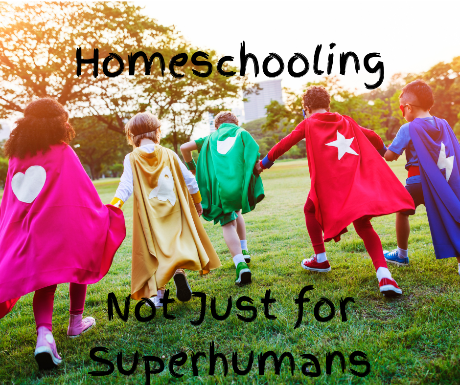 A picture of 5 kids dressed as super heroes, facing away from the camera and holding hands. The text reads Homeschooling on top and Not Just for Superhumans on the bottom