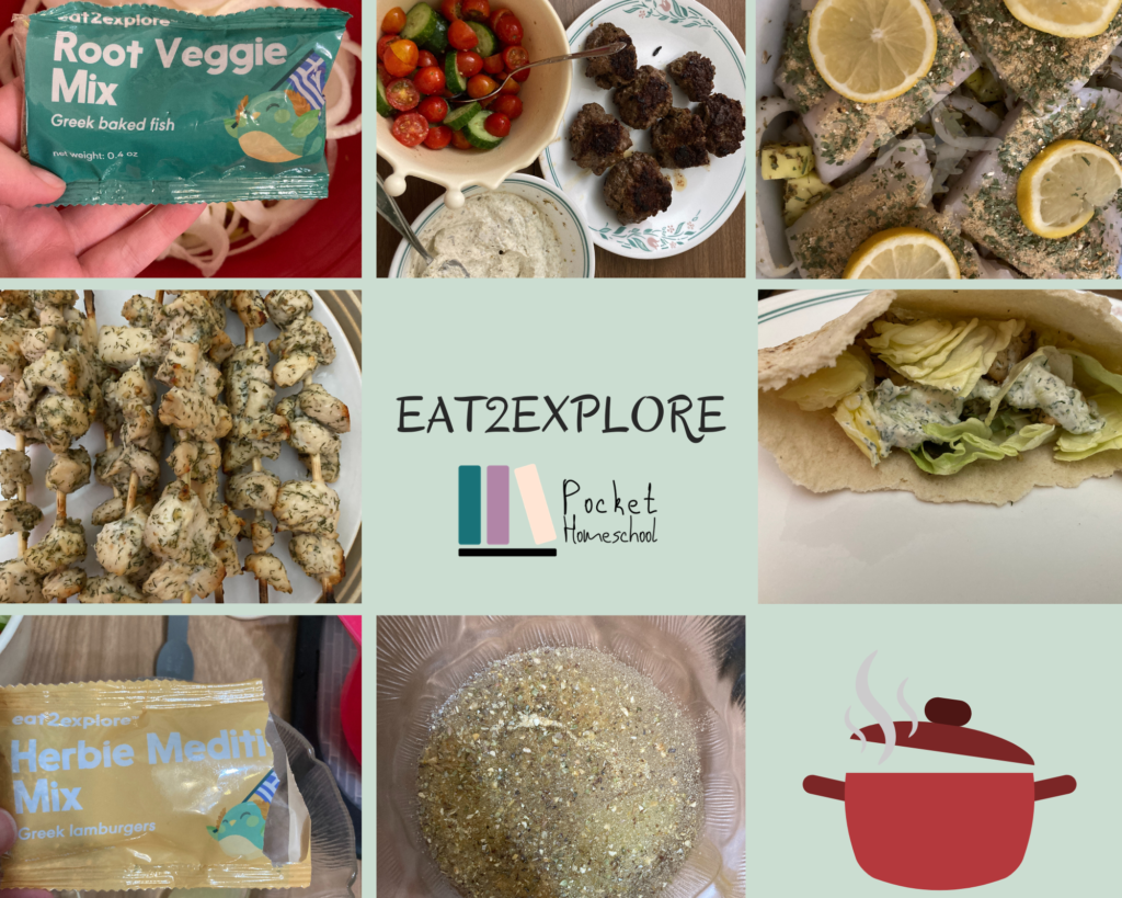 Collage of eat2explore images, showing the mixes and the food in process and the prepared food for the Greece box